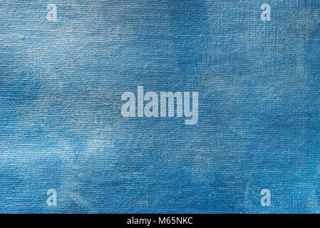 blue painted matallic painted on canvas art background texture - Stock Photo