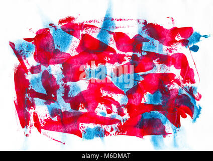 red and blue acrylic and watercolor painting art on paper texture, abstract background, splashing, paint, ink, drop, - Stock Photo