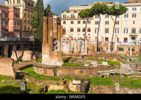 Largo di Torre Argentina is a square in Rome, Italy, with four Roman Republican temples and the remains of Pompey's - Stock Photo