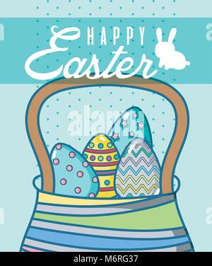 Happy easter card with egss basket - Stock Photo