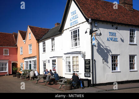 Exterior of the Angel Hotel, Lavenham village, Suffolk County, England, UK - Stock Photo