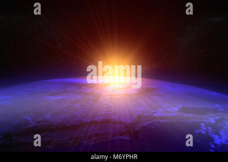 3D rendering of a sunset / sunrise from space - Stock Photo