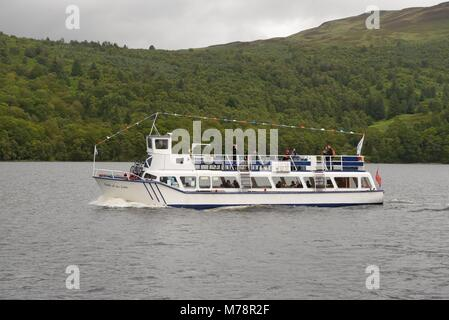 The Lady of the Lake pleasure boat taking a cruise down Loch Katrine in the Trossachs National Park, Stirlingshire, - Stock Photo