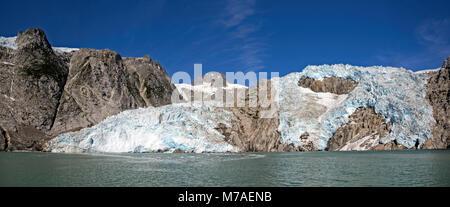 Panorama of Retreating the Retreating Northwestern Glacier in Kenai Fjords National Park in Alaska - Stock Photo