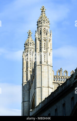 The decorated west end twin spires of the medieval chapel of King's college, Cambridge University, England, on a - Stock Photo