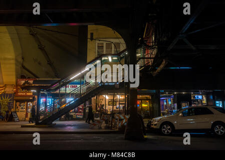 Astoria, New York, USA - 13 March 2018 - 31st Street under the Ditmars Blvd Elevated Subway Station at night. ©Stacy - Stock Photo