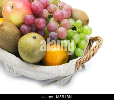 A small set of fruits on white background - Stock Photo