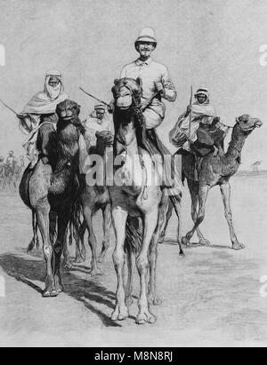 French Explorer Fernand Foureau during the Foureau-Lamy expedition in Chad in 1900, Picture from the French weekly - Stock Photo