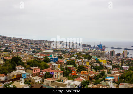 Hillside view of the colorful homes in the city of Valparaiso, Chile in South America - Stock Photo