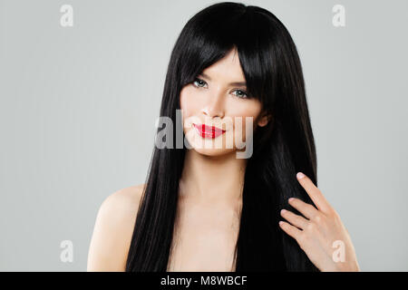 of Young Woman with Healthy Hairstyle, Beautiful Female Faceiful Female Face - Stock Photo