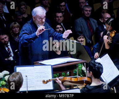 Prague, Czech Republic. 23rd Mar, 2018. Concert of Russian Symphonic Orchestra of Mariinsky Theatre in St Petersburg conducted by Russian conductor Valery Gergiev was held in Prague, Czech Republic, on March 23, 2018. Credit: Vit Simanek/CTK Photo/Alamy Live News - Stock Photo