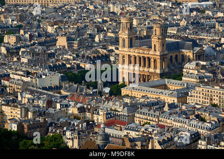 Aerial view on Saint-Sulpice Church and Paris rooftops at sunset (mansard and dormer roofs). 6th Arrondissment, Paris, France - Stock Photo