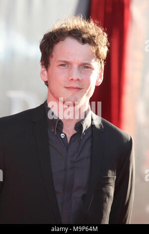 LOS ANGELES, CA - MAY 02:  Anton Yelchin attends the Premiere of Paramount Pictures' and Marvel's 'Thor' at the El Capitan Theater on May 2, 2011 in Los Angeles, California.   People:   Anton Yelchin - Stock Photo