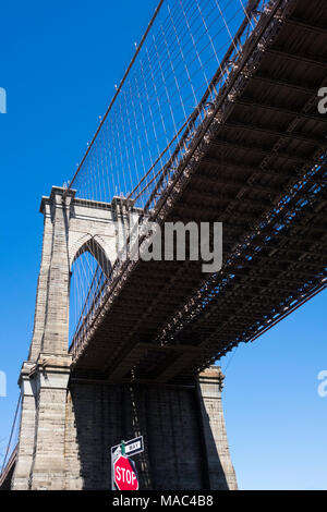 Looking up under the Brooklyn Bridge in NYC - Stock Photo