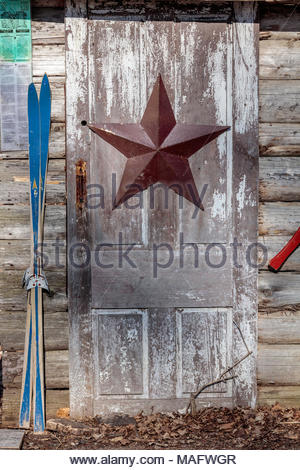 Barnstar a 5 pointed star historic decoration on side of old door purple woods conservation area