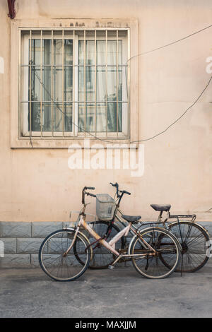 Bicycles in Chinese Residential Community in Xi'an, China - Stock Photo