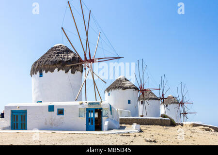 Iconic windmills, Mykonos, Greece - Stock Photo