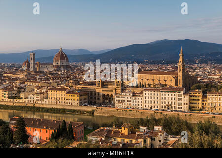 View of the Arno River, the Basilica of Santa - Croce and Santa - Maria - Del - Fiore in Florence. Italy. - Stock Photo