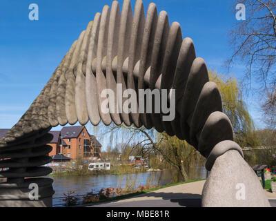 The Quantum Leap Mardol Quay sculpture next to  River Severn in Shrewsbury Shropshire England UK created to celebrate bicentenary of Charles Darwin bo - Stock Photo