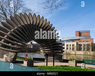 The Quantum Leap Mardol Quay sculpture next to  River Severn in Shrewsbury Shropshire England UK created to celebrate bicentenary Charles Darwin born  - Stock Photo