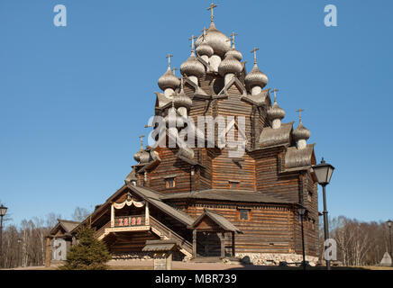 April  11, 2018 St. Petersburg, Russia, Church of the Intercession of the Holy Virgin in Nevsky Forest Park, panorama down up, wooden architecture of  - Stock Photo