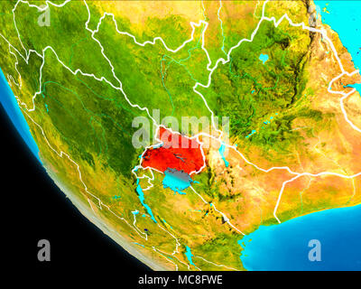Uganda highlighted in red on physical map 3D illustration Elements
