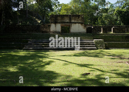 The main courtyard at the ancient Mayan site of Cahal Pech in western Belize. - Stock Photo