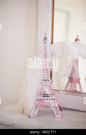 Travelling to France. Romance in pink. Miniature Eiffel tower. Symbol of love and confessions . In love - Stock Photo