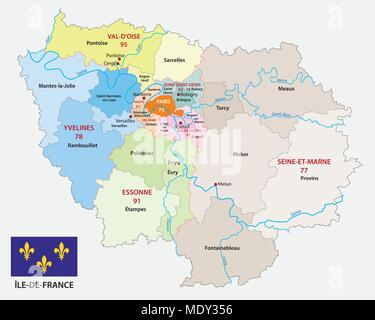 map france with flag Stock Vector Art Illustration Vector Image