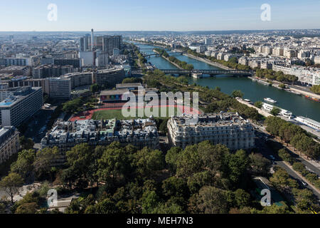 Paris from above, view from Eiffel tower - Stock Photo