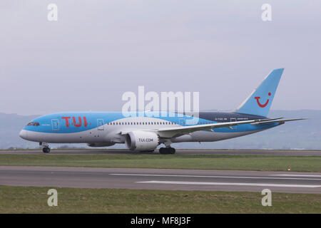 G-TUIC TUI Airways Boeing 787 Dreamliner departing from Bristol Airport in April 2018 - Stock Photo