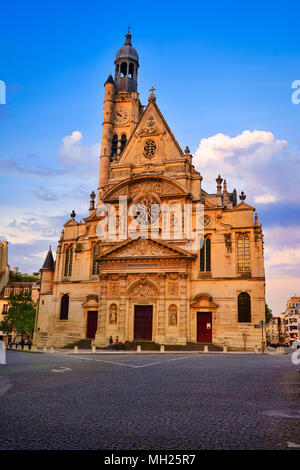 Sainte Genevieve, Paris, France: Saint Etienne du Mont is a church located on the Montagne Sainte Genevieve near the Pantheon. It contains the shrine  - Stock Photo