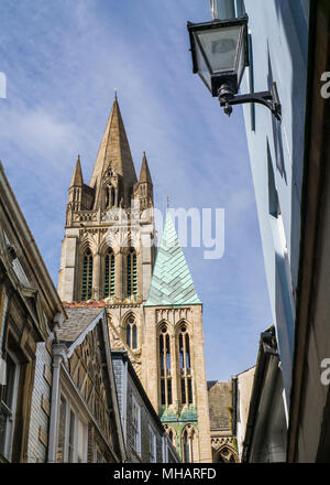 Truro Cathedral seen from alley in the city - Stock Photo