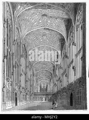 The Interior of King's College Chapel in the University of Cambridge. Considered to be one of the finest examples of late Perpendicular Gothic English architecture, it was built in phases by a succession of kings of England from 1446 to 1515, a period which spanned the Wars of the Roses. The chapel's large stained glass windows were not completed until 1531, and its early Renaissance rood screen was erected in 1532–36. The chapel is an active house of worship, and home of the King's College Choir. - Stock Photo
