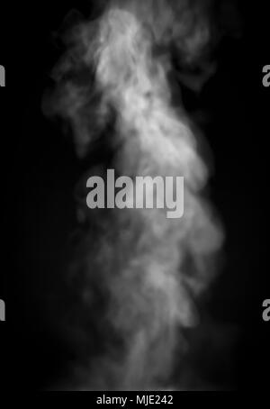 Smoke lit from above against a black backdrop. - Stock Photo