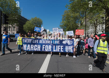 London, UK. 5th May, 2018. Hundreds of people joined March for Life today as counter protest against pro-abortion demo. The marches come just weeks ahead of a referendum in Ireland on the eighth amendment. Credit: Velar Grant/ZUMA Wire/Alamy Live News - Stock Photo