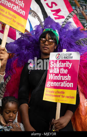 London, UK. 5th May, 2018. Stand up to racism protest outside the Home Office promoting solidarity with the Windrush Generation on 5th May 2018 in London, England, United Kingdom. The protesters were from a multicultural background and stood united to make a hostile environment for racism. Credit: Michael Kemp/Alamy Live News - Stock Photo