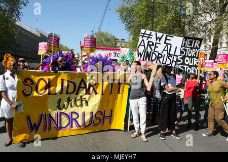 London, UK. 5th May, 2018. Windrush supporters march through London Credit: Alex Cavendish/Alamy Live News - Stock Photo