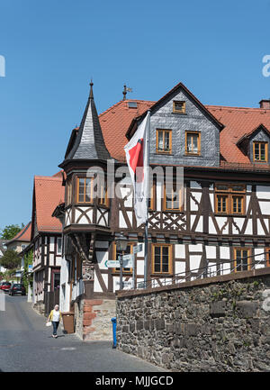 view on half timbered houses in the historic old town of kronberg im taunus, hesse, germany - Stock Photo