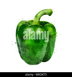 Green paper on white background. Watercolor illustration - Stock Photo