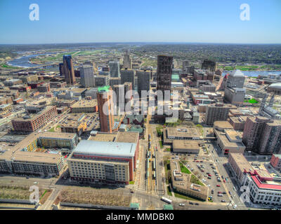 St. Paul is the State Capitol of Minnesota seen from above by Drone - Stock Photo