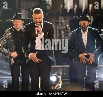 HOLLYWOOD, CA - FEBRUARY 26: Justin Timberlake performs onstage during the 89th Annual Academy Awards at Hollywood & Highland Center on February 26, 2017 in Hollywood, California  People:  Justin Timberlake - Stock Photo