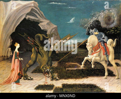 English: St. George and the Dragon .  UCCELLO, Paolo St. George and the Dragon Oil on canvas, 57 x 73 cm National Gallery, London . circa 1456.   1084 Saint George and the Dragon by Paolo Uccello (London) 01 - Stock Photo