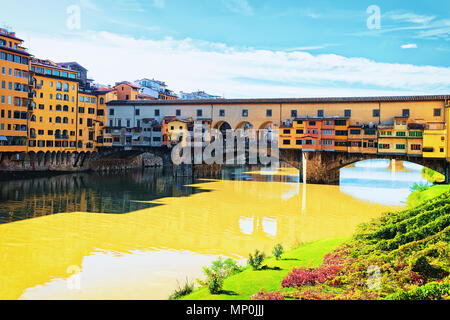 Ponte Vecchio bridge at Florence in Italy. - Stock Photo