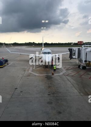 Airport Terminal, Columbus, Ohio, USA. 28th July, 2016. Columbus, Ohio - 28 July 2016: Summer storms in New York - Stock Photo