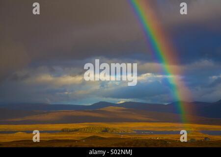 Rainbow on a blue sky, England borders - Stock Photo