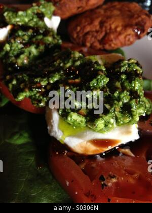 Amazingly fresh from the garden capriesi with falafel. - Stockfoto