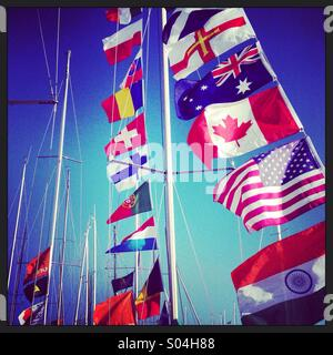 Flags on a yacht - Stockfoto