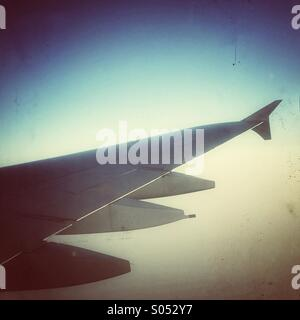 A380 airplane wing in air - Stock Photo