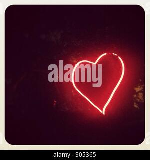 Neon Love Heart - Stock Photo